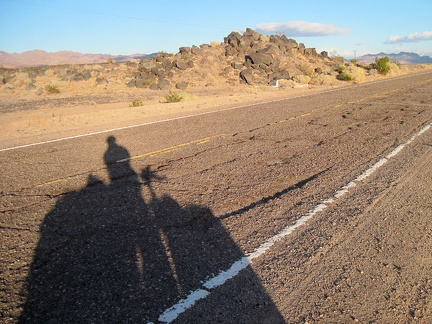 Route 66's road surface gets really rough east of Newberry Springs; I'm glad I'm riding a mountain bike with suspension!