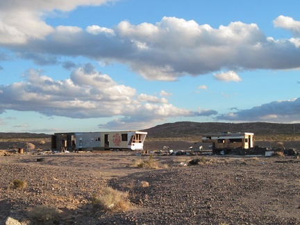 It looks like these two abandoned and semi-demolished trailers near Route 66 east of Newberry Springs have been visited often