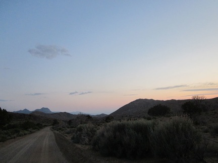 After passing Columbia Mountain, I look back at what remains of sunset and ride on to Mid Hills campground