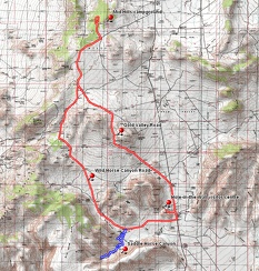 Route of Gold Valley bicycle ride from Mid Hills campground, plus a short hike in Saddle Horse Canyon