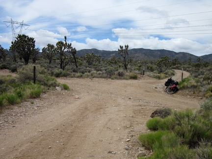 I take a short break at the junction of Pine Spring Road and the powerline road, looking back toward the McCullough Mountains