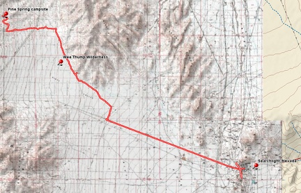 Bicycle route from Pine Spring, McCullough Mountains to Searchlight