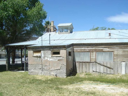 The old Shoshone ranger station is built partially out of mud bricks