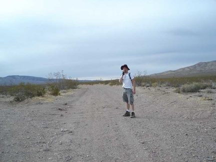 Me, standing in Greenwater Valley Road at the junction of Deadman Pass Road