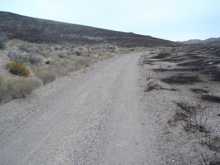 Back on my bike after repairs, Gold Valley Road rises into an area where there has been a brush fire