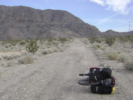 The 10-ton bike packed to go, I start the trek back up Jackass Canyon toward Kelbaker Road
