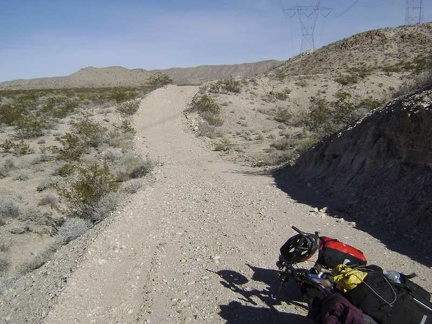 "To get out of the sandy wash, I opt for a ""high road"" that looks like a short bypass"