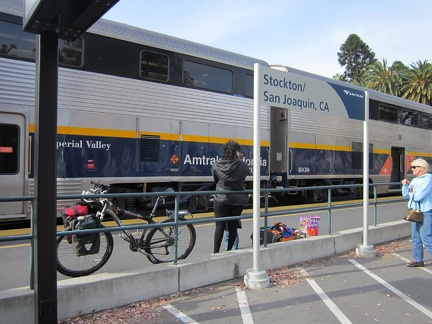 Yesterday, I boarded the Amtrak train with the 10-ton bike at Stockton, California, after a short Amtrak bus ride from San José