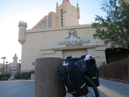 After the Amtrak train ride to Bakersfield, an Amtrak bus shuttled me to Primm, Nevada to start this bicycle-camping trip