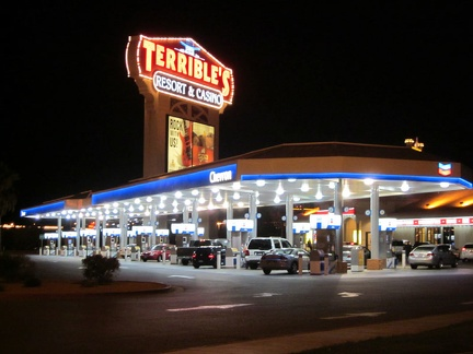 Outside the two high-rise casino-hotels at Primm, Nevada is a luxurious gas station with a bay for each vehicle filling up