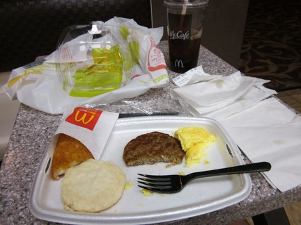 I eat breakfast at the McDonald's downstairs in the Whiskey Pete's casino; there's more garbage than food on my table