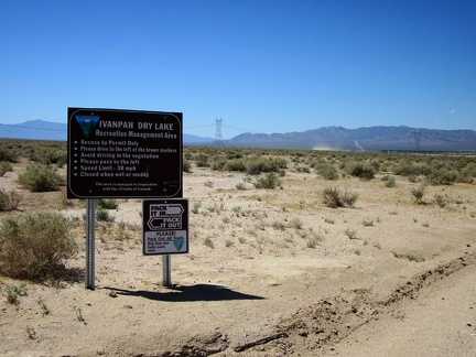 Just outside Primm is one of the entrances to the Ivanpah Dry Lake recreation area