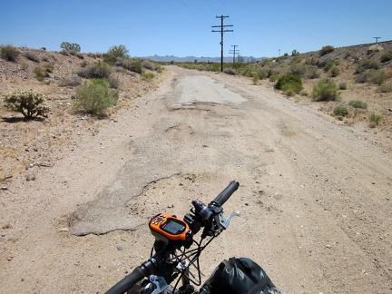 After about 6 miles of bumpy Nipton-Desert Road, I'm happy to reach the relative smoothness of some residual old pavement