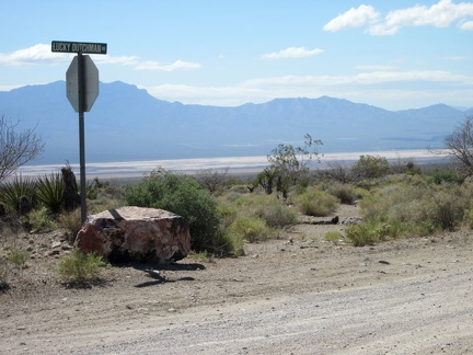 At the junction of Lucky Dutchman Road, I look back down into Ivanpah Valley and Ivanpah Dry Lake