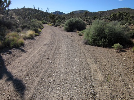 "My nice firm road surface transforms into shallow ""kitty litter"" as the road passes through a wash area"