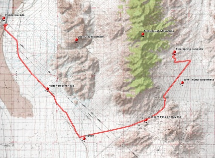 Bicycle route from Primm, Nevada to Pine Spring area, McCullough Mountains, Nevada