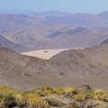 "Bright sunshine and a bit of smoke in the air as I look down toward ""The Racetrack"" in Death Valley National Park"