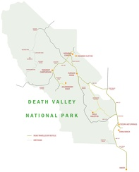 Map of Death Valley area showing 2007 bicycle routes travelled